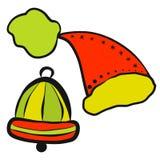 Праздничный комплект, шляпа santa и колокол иллюстрация вектора