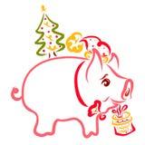 Праздничный маленький поросенок с подарком и рождественской елкой на ба бесплатная иллюстрация