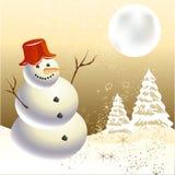 праздничный снеговик Иллюстрация вектора