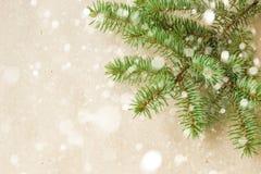 Праздничный угол рождества с ветвями и снежинками ели с снегом на деревенской бежевой предпосылке Стоковые Фото