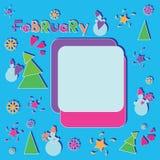 Праздничный февраль разбивочные цветы состоят льда рамки краев контраста зима текстуры снежка картин холодного низкая Стоковые Фотографии RF