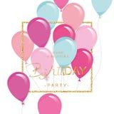 Праздничный шаблон праздника с красочными воздушными шарами и рамкой яркого блеска Приглашение вечеринки по случаю дня рождения Стоковые Фотографии RF