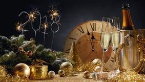 2018 праздничных золотых натюрмортов Нового Года Стоковое Изображение