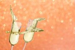 2 праздничных стекла шампанского Стоковая Фотография RF