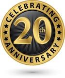 Праздновать двадцатый ярлык золота годовщины лет, вектор иллюстрация вектора