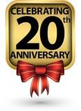 Праздновать двадцатый ярлык золота годовщины лет, иллюстрация вектора бесплатная иллюстрация