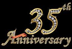 Праздновать знак 35th годовщины золотой с диамантами, вектор иллюстрация штока