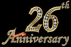 Праздновать знак 26th годовщины золотой с диамантами, вектор иллюстрация штока