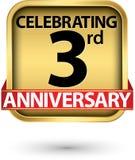 Праздновать 3-ий ярлык золота годовщины лет, иллюстрация вектора иллюстрация штока