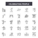 Праздновать линию значки людей, знаки, набор вектора, концепция иллюст иллюстрация штока