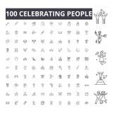 Праздновать линию значки людей, знаки, набор вектора, концепция иллюстрации плана иллюстрация штока