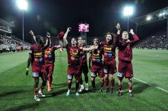 праздновать победу футбола игроков Стоковое Фото