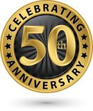 Праздновать пятидесятый ярлык золота годовщины лет, вектор иллюстрация штока