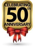 Праздновать пятидесятый ярлык золота годовщины лет, иллюстрация вектора иллюстрация вектора