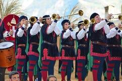 празднество flags средневековое небо Стоковое фото RF
