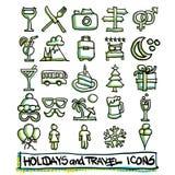 25 праздники и значков перемещения нарисованные рукой Стоковое Изображение RF