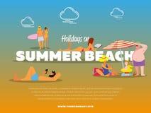 Праздники на знамени пляжа лета Стоковые Изображения RF