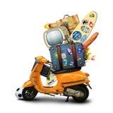 Праздники, оранжевый самокат Стоковые Фотографии RF