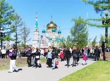 Праздник в городе, день победы, Омск, Россия Стоковые Фото