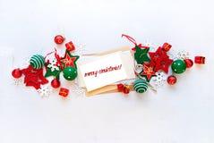 Праздник знамени рождества красный белый забавляется письмо Стоковое Изображение RF