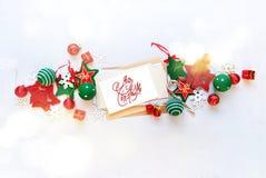 Праздник знамени рождества красный белый забавляется письмо Стоковая Фотография RF