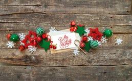 Праздник знамени рождества красный белый забавляется письмо Стоковое фото RF