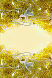 Праздник золота абстрактный освещает космос предпосылки и экземпляра на mi Стоковое Изображение