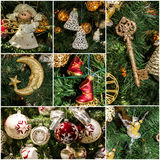 Праздник коллажа украшения рождественской елки Стоковое Изображение RF