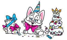 Праздник милой карточки кота счастливый иллюстрация вектора
