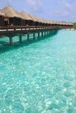 Праздник острова убежища на бунгале Overwater Стоковое Фото