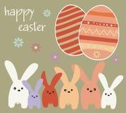 Праздник пасхи - кролики и пасхальные яйца Стоковое Фото