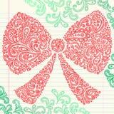 праздник руки рождества смычка нарисованный doodle схематичный Стоковое Фото