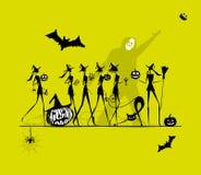 Праздник хеллоуина, молодые ведьмы для вашего дизайна Стоковое фото RF