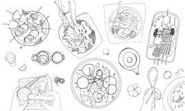 Праздничная вегетарианская tableful, положенная таблица, праздники вручает вычерченную иллюстрацию контура, взгляд сверху Стоковые Изображения RF