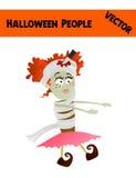 Праздничная оранжевая иллюстрация девушки хеллоуина вектора в октябре иллюстрация вектора