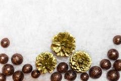 Праздничная предпосылка зимы с золотыми конусами и шариками ели в стоковая фотография rf