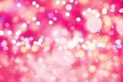 Праздничная предпосылка с естественным bokeh и яркими золотыми светами Винтажная волшебная предпосылка с цветом Стоковые Фотографии RF
