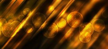 Праздничная предпосылка с естественным bokeh и яркими золотыми светами Стоковые Изображения RF