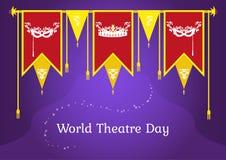 Праздничная предпосылка с знаменами к дню театра мира Стоковая Фотография RF