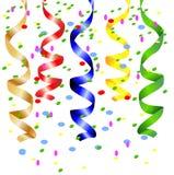 Праздничная предпосылка с серпентином и confetti Стоковые Фото