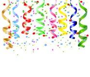 Праздничная предпосылка с серпентином и confetti Стоковое фото RF