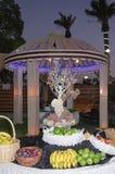 Праздничная таблица с плодоовощ на открытом воздухе в вечере в зале торжеств Стоковая Фотография