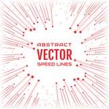 Праздничная шуточная радиальная линия скорости с красными звездами на белой предпосылке, как фейерверки Стоковое Изображение RF
