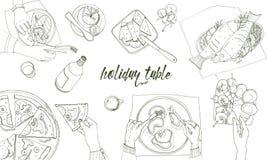 Праздничная tableful, положенная таблица, праздники вручает вычерченную иллюстрацию контура, взгляд сверху Предпосылка с местом д Стоковое фото RF