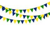 Праздничные коробки флага цвета Бразилии на белой предпосылке Стоковое Изображение