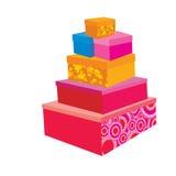 Праздничные упаковывая коробки иллюстрация штока