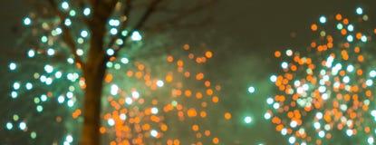 Праздничные фейерверки на черной ноче Стоковое Фото