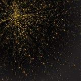 Праздничный взрыв confetti Предпосылка для карточки, приглашение яркого блеска золота Элемент праздника декоративный Стоковые Изображения RF