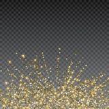 Праздничный взрыв confetti Предпосылка для карточки, приглашение яркого блеска золота Элемент праздника декоративный Стоковые Фото