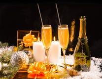 Праздничный натюрморт рождества с шампанским Стоковое Фото